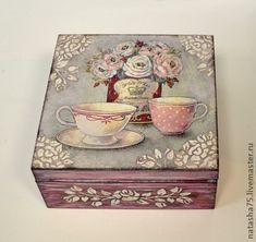 """Чайная шкатулка """"Романтичное чаепитие"""". - бледно-розовый,чайная коробка"""