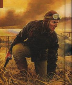 """Kent Allard, 1918.    This is a painting of World War One ace, Lt. Frank Luke by Russell Smith & is titled """"The Stand"""". I just thought the image could have been The Dark Eagle himself. According to Gibson, Allard is based on Col. Percy Fawcett the explorer who was lost near the Amazon River while searching for a """"lost"""" city. However, it is an excellent painting, and an excellent likeness according to Gibson's written description of Kent Allard."""