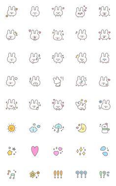 Rough handwritten white rabbit emoji – LINE อิโมจิ   LINE STORE