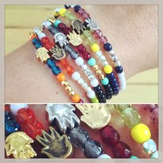 Just like candy! Our #danalevy solid mini hamsa glass bead mix bracelets are available in a variety of different platings and glass bead mix colours - which you can mix n match!