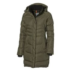 The Ladies Balkan Insulated Jacket In Length Has Many Features, Including A Detachable Hood, Thumb Exits And Many Pockets. It Is Wind And Water Resistant Corporate Outfits, Corporate Gifts, Promotional Clothing, Square Logo, Urban Fashion, Jackets For Women, Winter Jackets, Heat Press, Heat Transfer