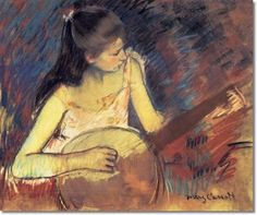 Girl with a banjo (1893) Mary Cassatt - pastel - Painting of the Day