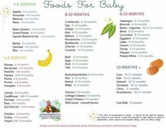 Solid Food Chart for Babies Aged 4 months through 12 months when to introduce what.