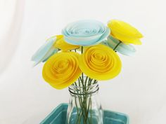 Yellow Paper Flowers Bright Yellow Baby Shower by FioriBelle