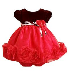 Infant Party Dress - Red Ruffle Rose Trim  sold out $39.99