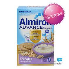 Papilla de 8 cereales con sabor a cremosa galleta. Ayuda al sistema inmunitario y contiene fibra prebiótica gracias a Pronutravi2. Desde el sexto mes. #almiron #cerealescongalletas