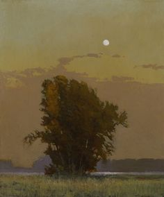 Moon over San Joaquin, 12 x 10 inches, oil on panel. Marc Bohne