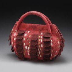 Free Motion Embroidery, Embroidery Art, Felt Purse, Recycled Sweaters, Art Bag, Red Felt, Handmade Felt, Felt Art, Textiles