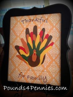 Thanksgiving Art Craft for the Entire Family. Love this idea! #Thanksgiving #craft Gift for grandparents