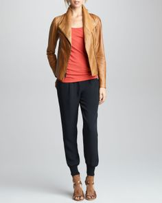 Vince Leather Jacket, Favorite Tank & Silk Sweatpants - Neiman Marcus