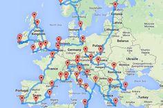 Voici le road trip optimal pour découvrir l'Europe Road Trip Map, Road Trip Europe, Places In Europe, Backpack Europe Route, Inverness, Dubrovnik, Granada, Amalfi, Edinburgh