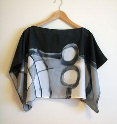 Zijden blouse handgeschilderde - zijde sjaal-bruiloft blouse-sjaals voor Hare-kimono-zijde handbeschilderd-Silk sjaal-Ooak zijde zwart-grijs-witte blouse