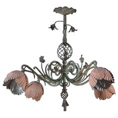 Art Nouveau Floral Chandelier | From a unique collection of antique and modern chandeliers and pendants  at https://www.1stdibs.com/furniture/lighting/chandeliers-pendant-lights/