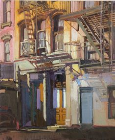 """Soho Ladders by Francis Livingston, 2015, oil on panel, 24 x 30"""" (sold) 