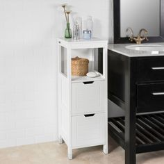 Brambly Cottage 30 x 89 cm Hochschrank Lowell Bathroom Cabinets Uk, Tall Bathroom Storage Cabinet, Storage Cabinet With Drawers, Locker Storage, Storage Cabinets, Free Standing Cabinets, Lidl, White Wood, Open Shelving
