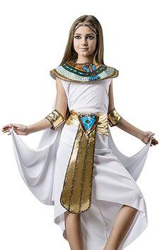 Kids Girls Cleopatra Halloween Costume Egyptian Princess Dress Up & Role Play (6-8 years)