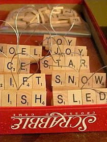 Make ornaments from an old Scrabble game