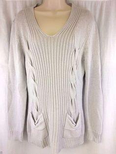 Three Sixty Five Andrea Jovine Large Sweater Light Gray Metallic Casual New #threesixtyfive #pullover