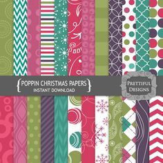 Digital Scrapbooking Papers - Poppin Christmas (771)