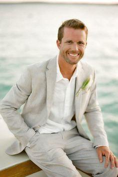 2017 Latest Coat Pant Designs Light Grey Linen Men Suit Casual Beach Slim Fit 2 Piece Style Tuxedo Custom Wedding Suits Vestidos