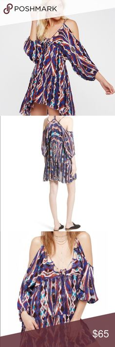 🇺🇸Sale🇺🇸Free People Monarch Mini Dress Multi color draped mini dress with slender ties that weave in and out of a looped neckline. Fun and flirty🌺😍🌺 🇺🇸Sale Prices are firm🇺🇸 🇺🇸Bundles of 2 Plus gets 10% Off🇺🇸 Free People Dresses Mini