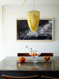 yellow beads chandelier