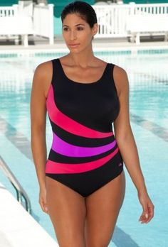 Aquabelle Chlorine Resistant! Red and Orchid Plus Size Spiced Swimsuit Women's Swimwear Aquabelle. $59.00