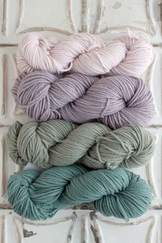 The Yarn for Cedars House Scarf kit includes 4 skeins of Chunky Merino - 1 skein each of Colors A, B, C, and D.Get more info about Chunky Merino, or cho. Yarn Color Combinations, Colour Schemes, Crochet Yarn, Knitting Yarn, Yarn Wall Hanging, Yarn Inspiration, Color Palate, Hand Dyed Yarn, Yarn Colors