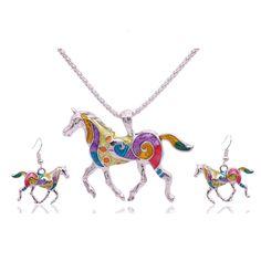 2016 Verano Esmalte Caballo Conjuntos de Joyas de Oro Para Las Mujeres Animal Caballo Collar Pendiente de la Joyería De Moda Turco