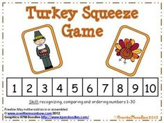 Freebie~These Thanksgiving rivals will help your students practice recognizing, comparing and ordering numbers 1-30!