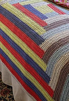 """Crochet Log Cabin Afghan - 6 colors needed, HDC, a crocheted """"quilt"""""""