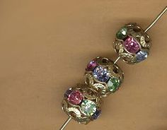 vintage rhinestone ball three different pastel colors in one bead crystal goldtone 10mm, THREE beads rare color mix by beadtopiavintage on Etsy