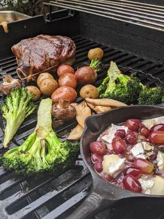 This is a delicious celebration meal that is all cooked right on the BBQ. It is simple and delicious and uses basic ingredients. Charred Broccoli, Stuffed Mushrooms, Stuffed Peppers, Red Grapes, Fresh Thyme, Canola Oil, Prime Rib, Easter Dinner