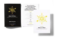 The Annual Shine & Dine for Make-A-Wish Foundation by Ascender #brand #branding #identity #visual #design #invitation #program #makeawish #logo #logotype #dining #event #gala #black #tie #design