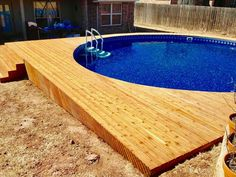 Galaxy Home Recreation is proud to carry the widest selection of semi inground pools. Our semi inground pools are great for hills or sloped backyards. Located in Tulsa, Oklahoma City and Broken Arrow. Semi Inground Pool Deck, Inground Pool Designs, Intex Pool, Backyard Pool Designs, Pool Decks, Backyard Ideas, Pool Fence, Pool Landscaping, Above Ground Pool Cost