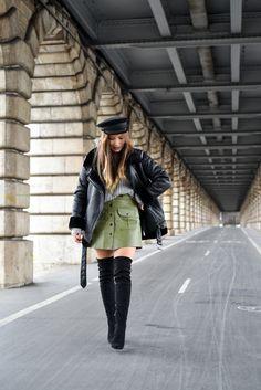 #leatherskirt #bombardier #cuissardes #manteau #faussefourrure #fashion #gavroche #mode #parisian