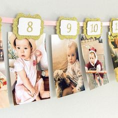 12 Months Photo Banner. Pink and gold. 12 months Banner. Cake