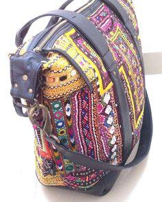 Black Leather Vintage Banjara Bag multicolor embroidery ethnic tribal gypsy tote #Handmade #TotesShoppers