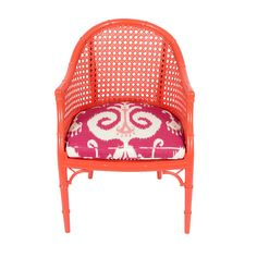 Orange Lacquered Bucket Ikat Chair