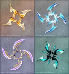Holy Fuck these are awesome. DO NOT edit, trace, copy or repost these designs! They belong to people who bought them. 1 (orange) - sold to GuardianofLightAura 2 (blue) - sold to ZoeVulpez 3 (violet) - sold to 4 (turqu. Shuriken, Ninja Weapons, Anime Weapons, Fantasy Weapons, Zombie Weapons, Armas Ninja, Dessin Animé Lolirock, Pretty Knives, Weapon Concept Art