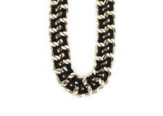 Černo-zlatý masivní náhrdelník OJJU Pelle