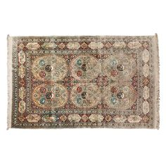 (11DA) A Hand-Made Elegant Rug in Silk and Gold Thread n\A Hand-Made Elegant Rug in Silk and Gold Thread 2750… / MAD on Collections - Browse and find over 10,000 categories of collectables from around the world - antiques, stamps, coins, memorabilia, art, bottles, jewellery, furniture, medals, toys and more at madoncollections.com. Free to view - Free to Register - Visit today. #Rugs #Carpets #Textiles #MADonCollections #MADonC