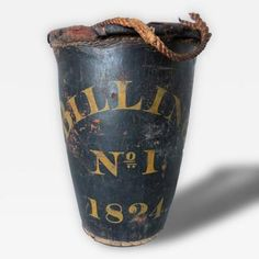 "American Leather Fire Bucket C. 1824 | American leather fire bucket ""S. Billings No. 1"" Dated ""1824"". Could be Billings, Montana. All original condition including rope on top (one side unattached). Hand stitched in the rear. Wear consistent with age and use."