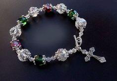 Genuine Swarovski Crystal Christmas Colors Antique Silver Rosary Prayer Bracelet