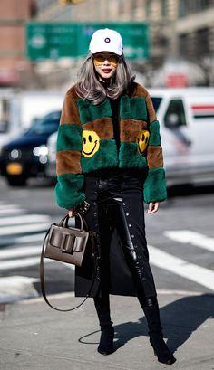 Boyys bag + Funny fur jacket. New York Fashion Week, Fall 2018 Day 1.