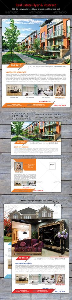 Real Estate Flyer & Postcard - show your listings  in clean, professional style. Easy to edit, change colors - to suit your current marketing.