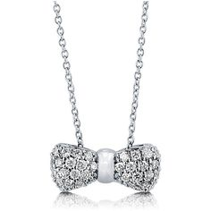 "BERRICLE Sterling Silver CZ Bow Tie Fashion Pendant Necklace 16"""" ($55) ❤ liked on Polyvore featuring jewelry, necklaces, accessories, clear, pendant necklace, sterling silver, women's accessories, necklaces & pendants, clear quartz necklace and bow necklace"