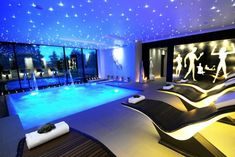 Outdoor, Best Indoor Swimming Pool Design With Modern Chaise Lounge And Sparkling Starry Ceiling Lights: Stylish Choices for the Best Indoor Swimming Pools