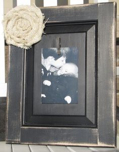 Shabby Chic Black Repurposed Wood Picture Frame