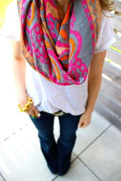 Beautiful coloured scarf, slouchy tee, dark wash flared jeans